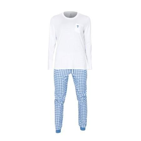 Dámské pyžamo Tufte White/Light Blue Checkers, XL